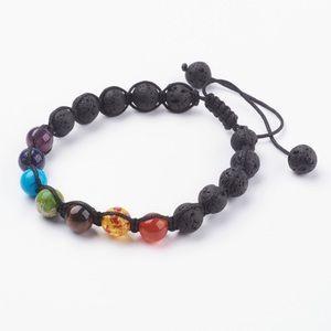 Chakra Bracelet w/Gemstones & Lava Rocks